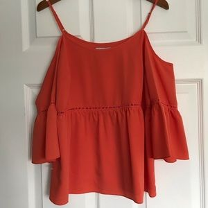 NWOT 1.STATE Coral Cold Shoulder Peasant Blouse